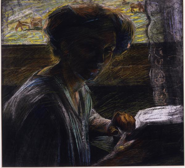 """Umberto Boccioni  , """"Ritratto della sorella che legge"""", 1909"""